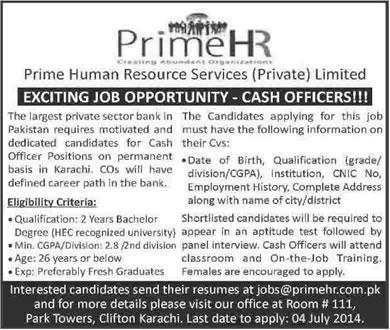 Cashier Cash Officer Jobs In Karachi 2014 June At Prime