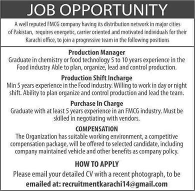 Food Technologist & Production / Shift Incharge Jobs in