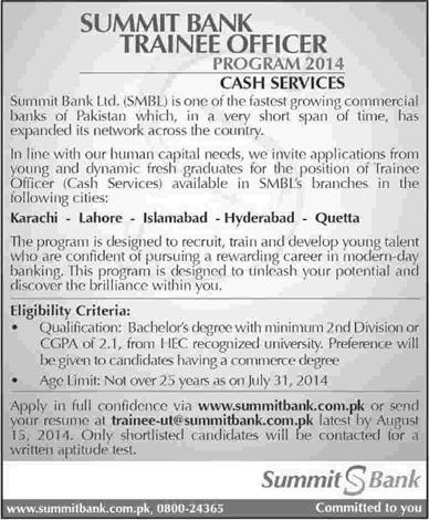 Summit Bank Jobs 2014 August Trainee Officer Program In