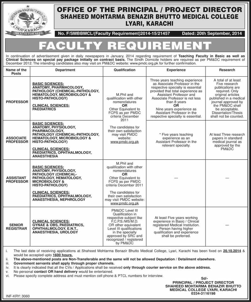 Shaheed Mohtarma Benazir Bhutto Medical College Karachi Jobs 2014 ...