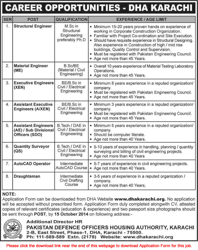 dha karachi jobs for electrical material civil dha karachi jobs 2014 for electrical material civil engineers draughtsman