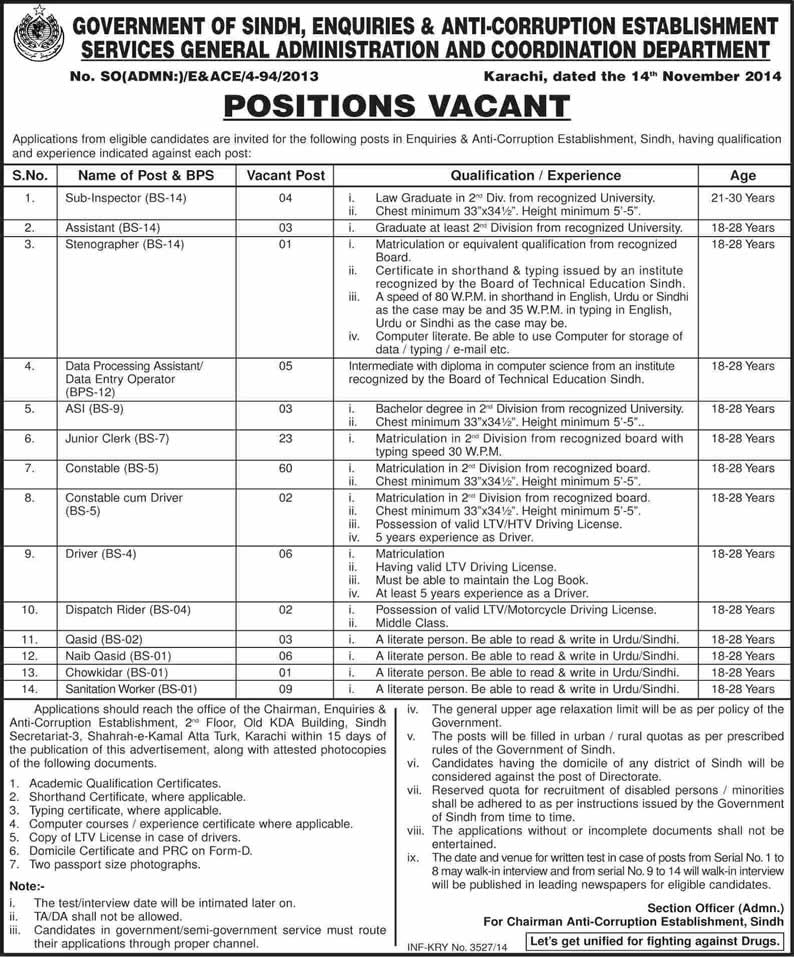 Anti Corruption Department Sindh Jobs 2014 November Constables, ASI, Junior Clerks & Others