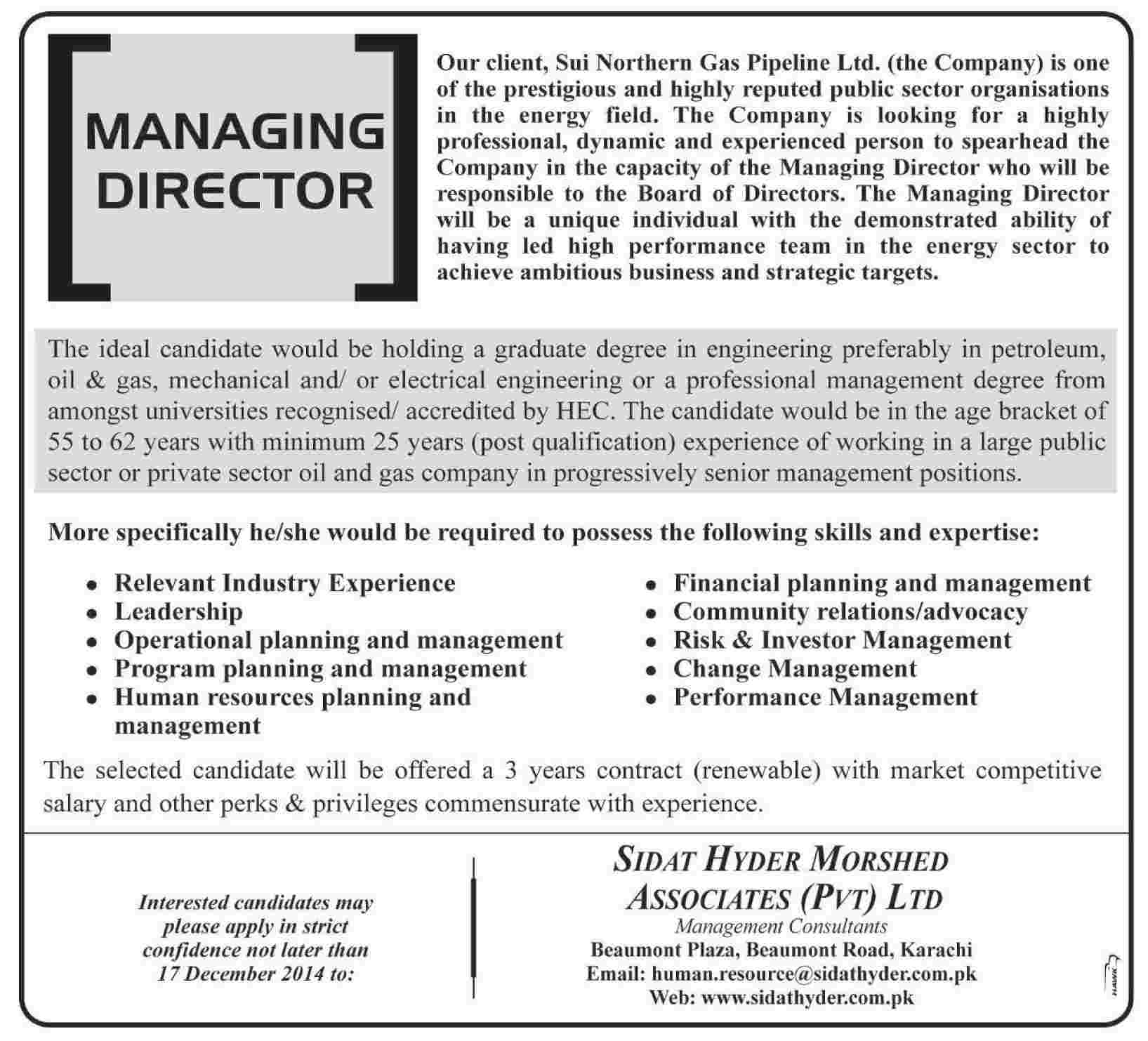 Managing Director Jobs In Sui Northern Gas Pipeline Ltd 2014 December SNGPL