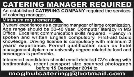 Catering Manager Jobs In Pakistan 2014 December Moghul Catering  Catering Manager Job Description