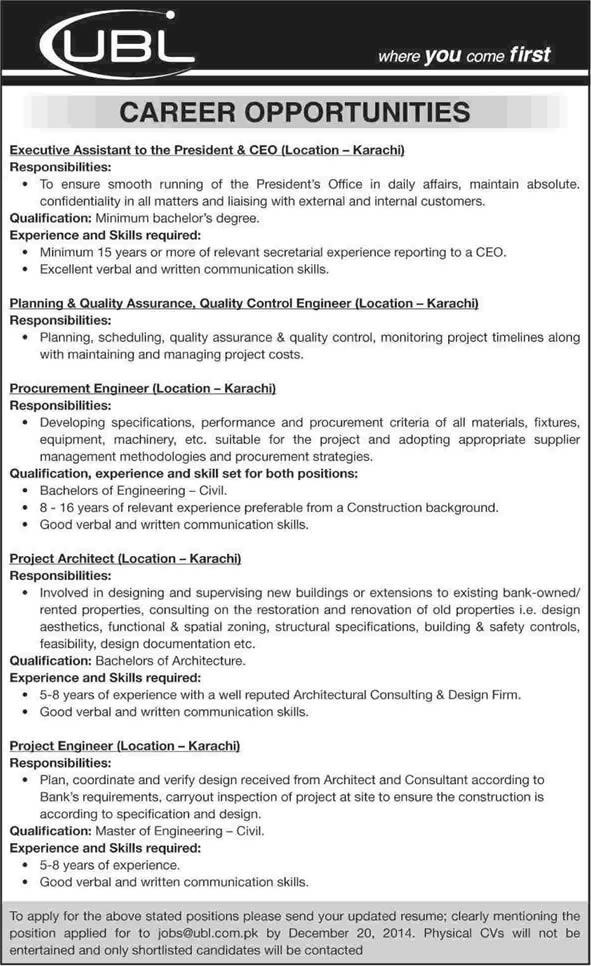 United Bank Limited Karachi Jobs 2014 December Ubl Latest Advertisement In Karachi Sindh Dawn On 14 Dec 2014 Jobs In Pakistan