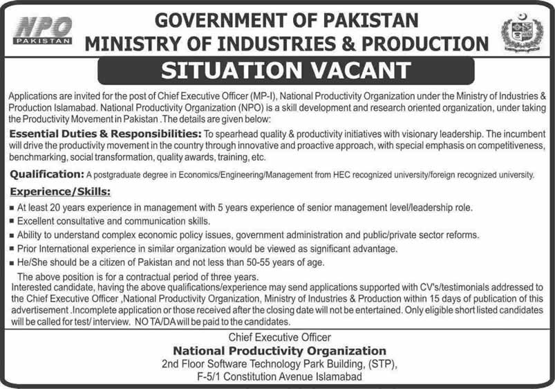 Chief Executive Officer National Productivity Organization Jobs December 2014 2015