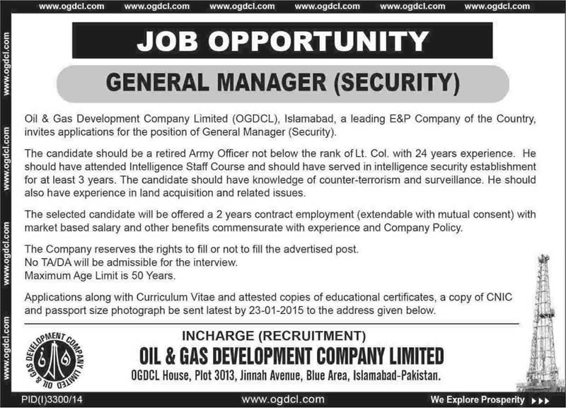 General Manager Security Jobs In Ogdcl Islamabad 2015