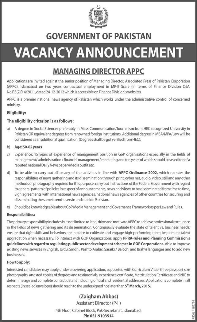 Managing Director Associated Press Of Pakistan Corporation Jobs