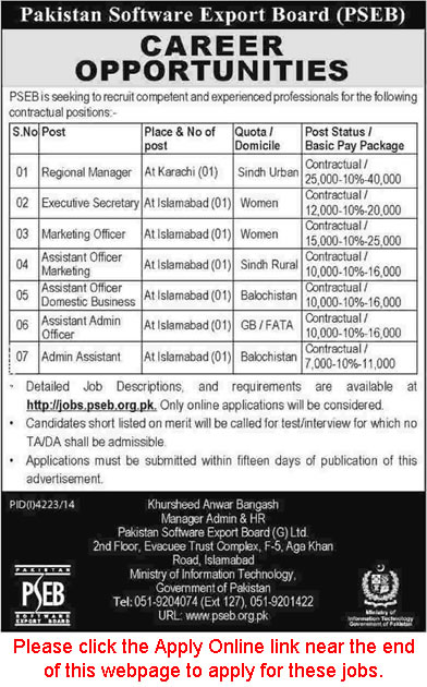 Pakistan Software Export Board Jobs 2015 February PSEB Apply Online Latest Advertisement