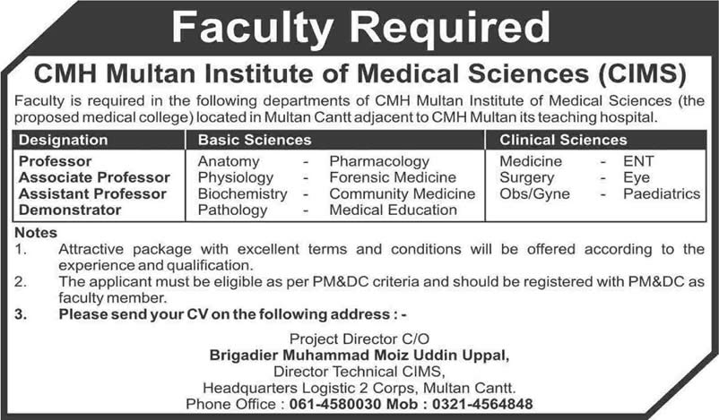 Cmh Multan Institute Of Medical Science Jobs 2015 February Cims