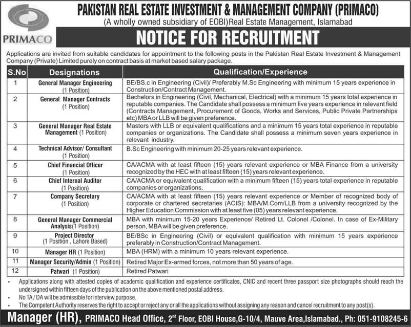 PRIMACO Jobs 2015 March Pakistan Real Estate Investment & Management Company Latest
