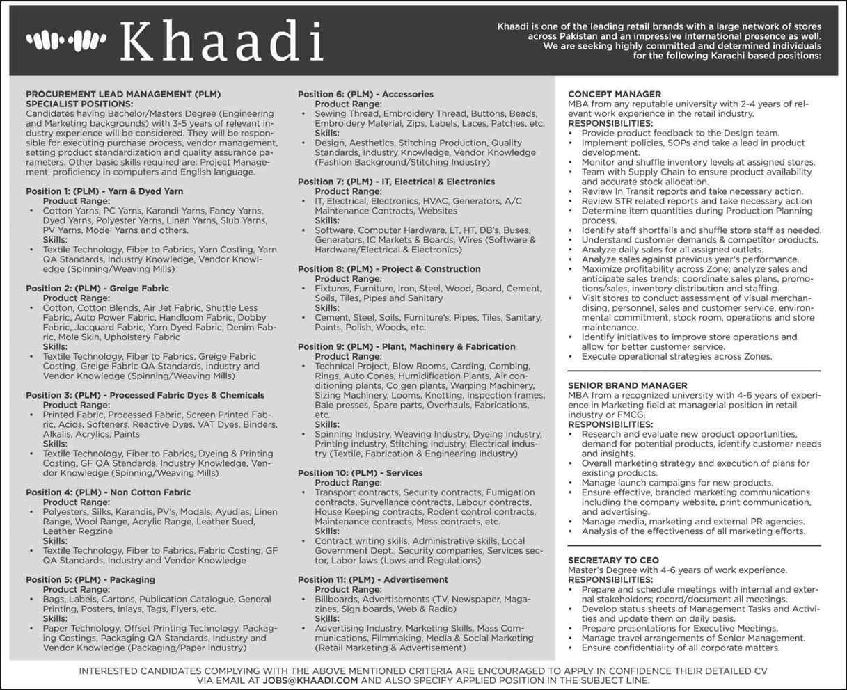 khaadi jobs karachi procurement lead management khaadi jobs 2015 karachi procurement lead management concept brand manager secretary