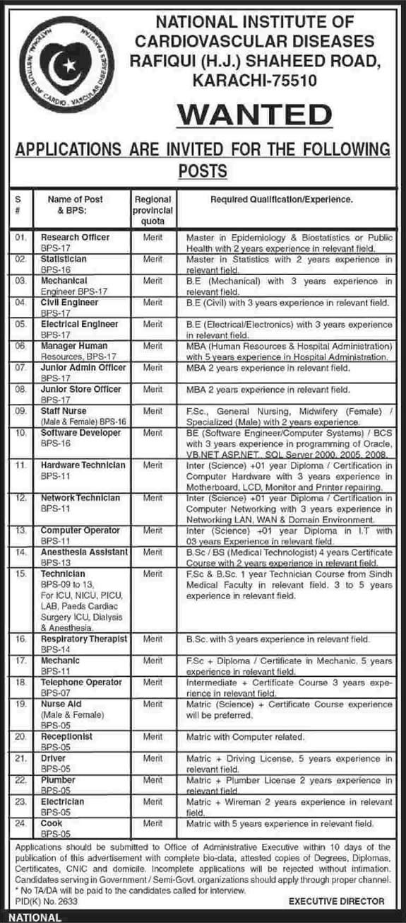 National Institute Of Cardiovascular Diseases Karachi Jobs 2015