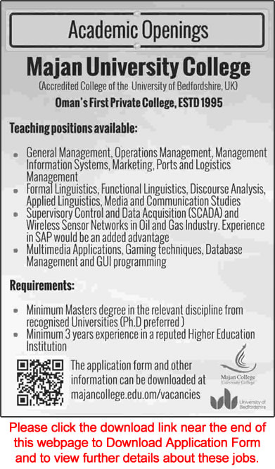 Majan University College Oman Jobs 2015 March Teaching
