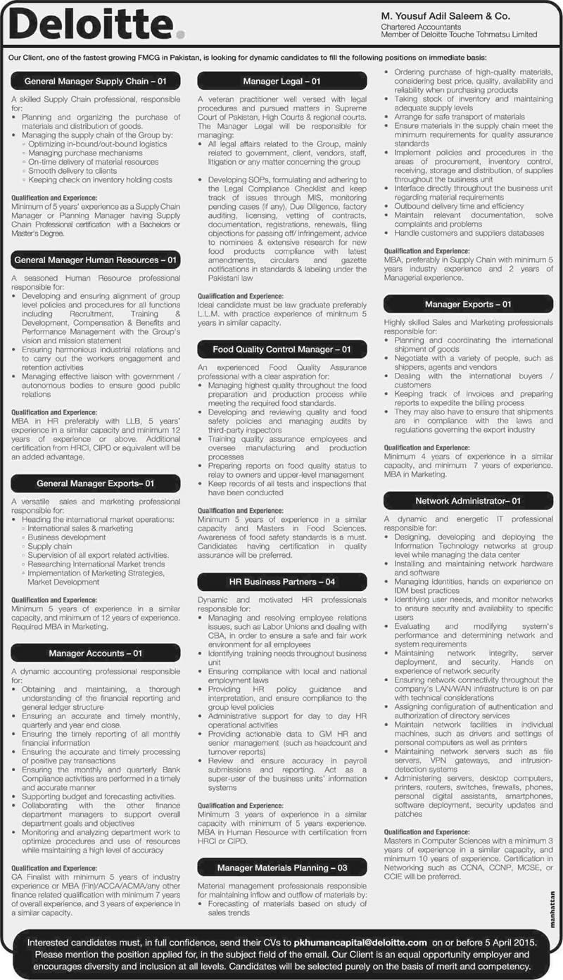 Deloitte Pakistan Jobs 2015 March / April for FMCG Company Latest Advertisement