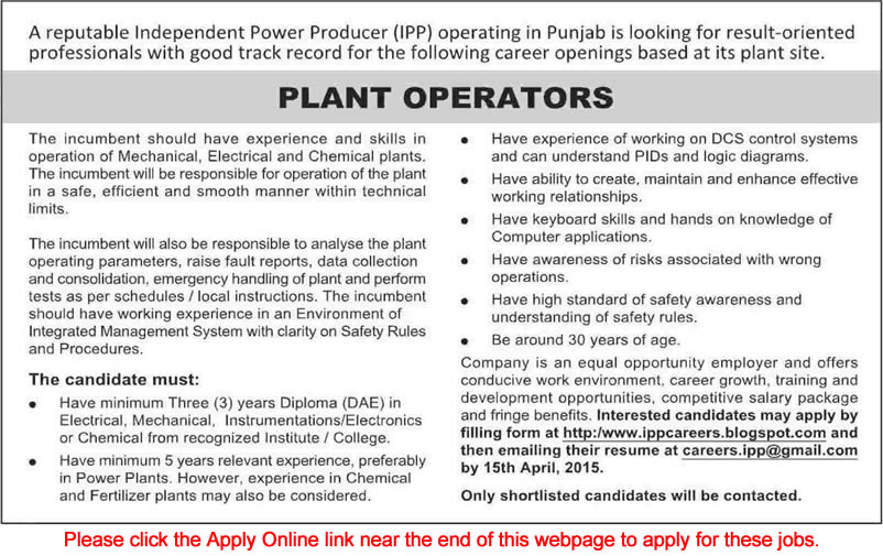 Generator Power Plant Power Plant Operator Jobs in