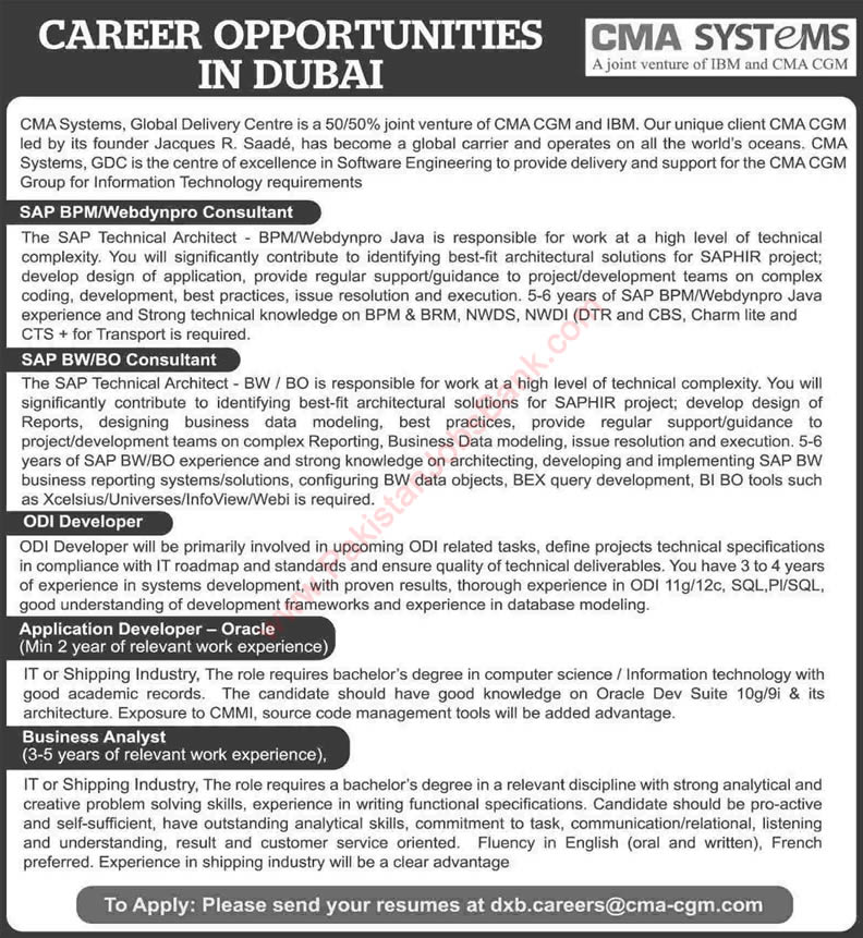 CMA Systems Dubai Jobs 2015 April Pakistani SAP Consultants, ODI / Application Developers & Business Analyst