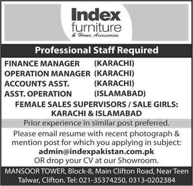 Amazing Index Furniture Karachi / Islamabad Jobs 2015 April Accounting / Operations  U0026 Sales Staff Latest