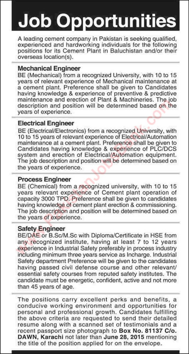 Cement Industry Jobs In Pakistan  June Engineers Mechanical