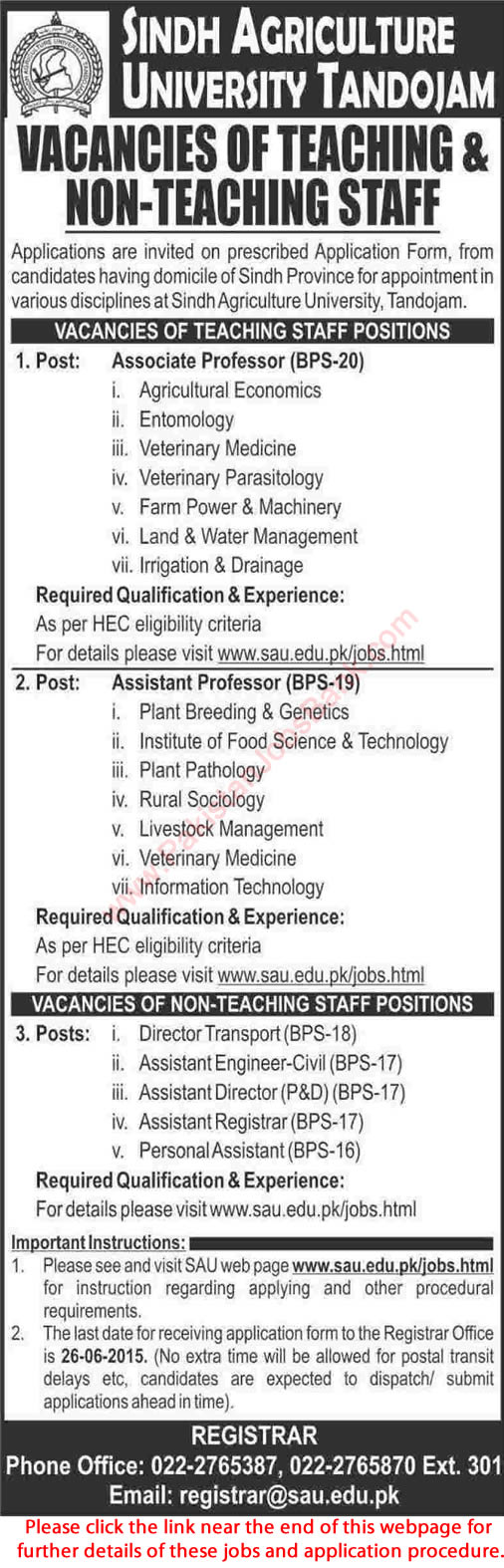 Sindh Agriculture University Tandojam Jobs 2015 June Teaching Faculty & Admin Staff