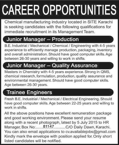production quality assurance managers trainee engineer jobs in karachi 2015 june chemical industry - Production Engineering Job