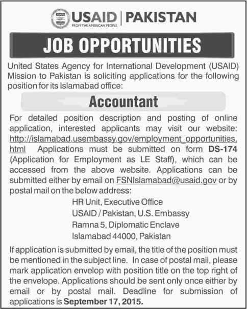 Accountant Jobs in USAID Islamabad Jobs 2015 September Application Form Download Latest