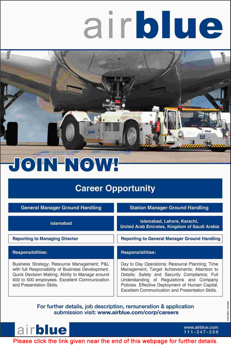Air Blue Jobs September 2015 Online Apply General Manager & Station Manager Ground Handling