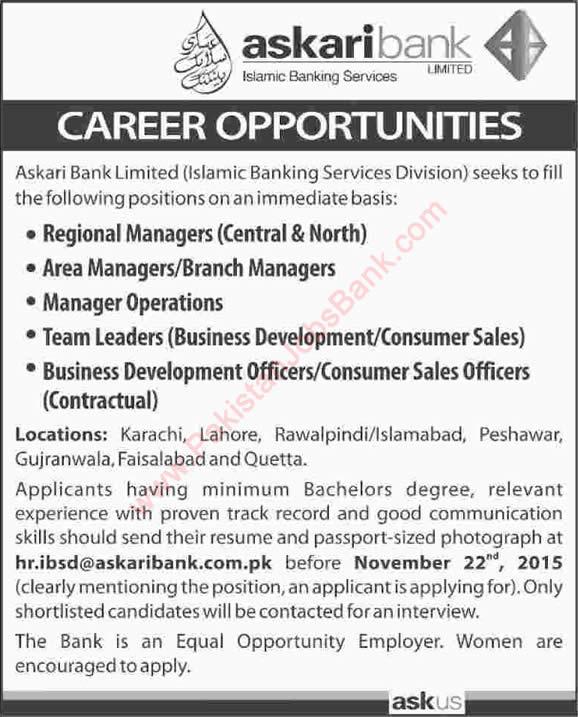 Askari Bank Jobs November 2015 Managers Amp Officers In