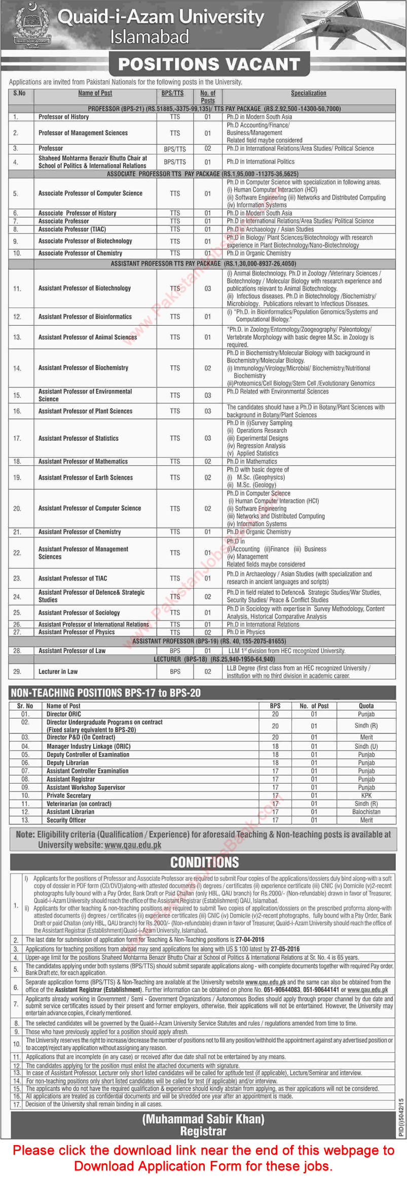 Ad_Dawn_Job_20160327_016 Qau Degree Application Form on dept chmistry, bba department, it department, university logo, islamabad logo, earth science, fee structure for bs, itt dr names, faculty male, dr amena zubari, closing merit, islamabad round area, faculty female,