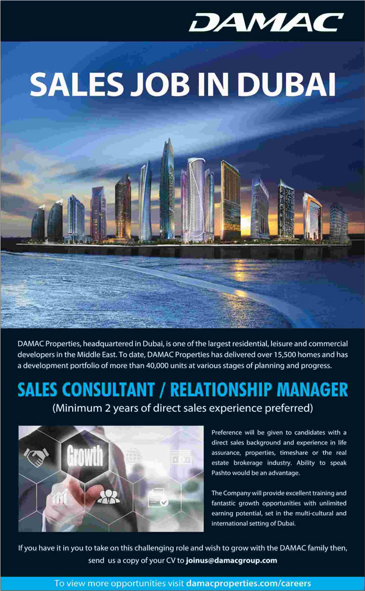 DAMAC Properties Dubai Jobs 2016 April for Sales Consultant / Relationship Manager Latest