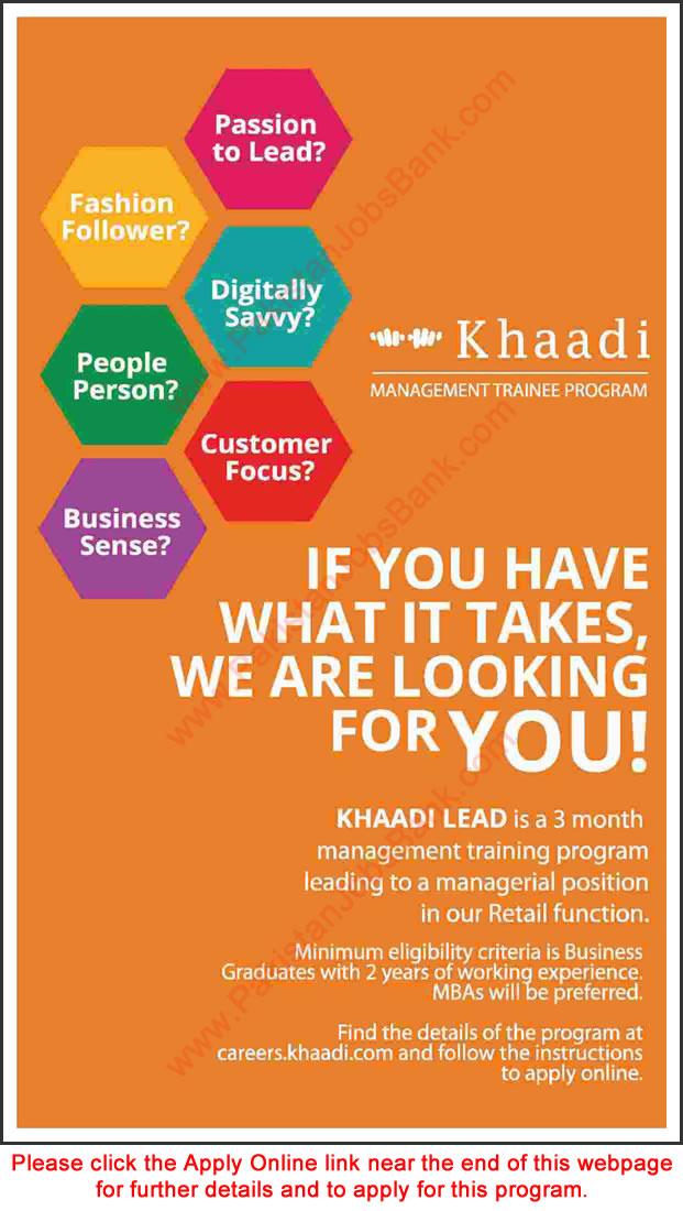 khaadi jobs july 2016 apply online management trainee