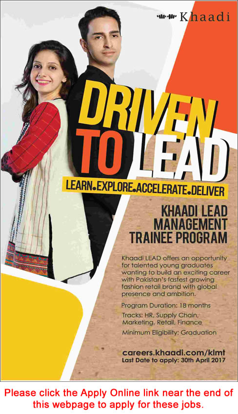 Khaadi Jobs 2017 April Apply Online Management Trainee Program Latest Advertisement