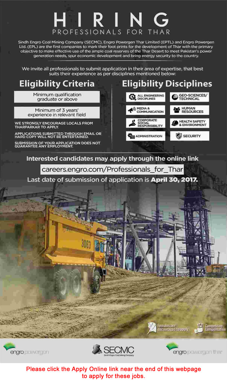 Sindh Engro Coal Mining Company Jobs 2017 April Apply Online SECMC Latest Advertisement