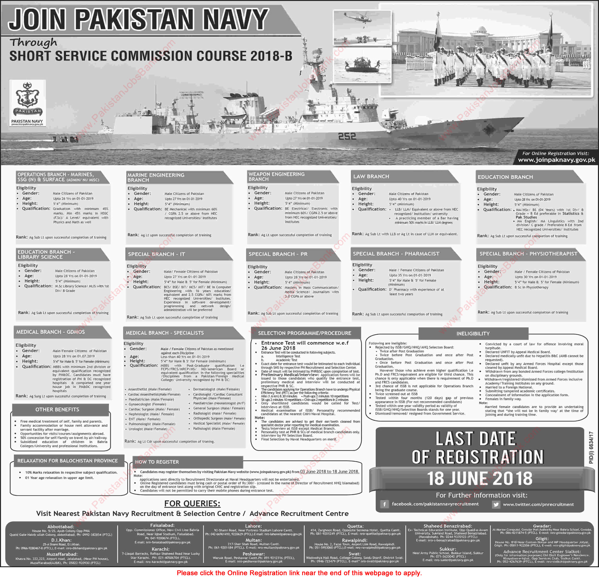 Join Pakistan Navy through Short Service Commission Course 2018-B Online Registration Latest