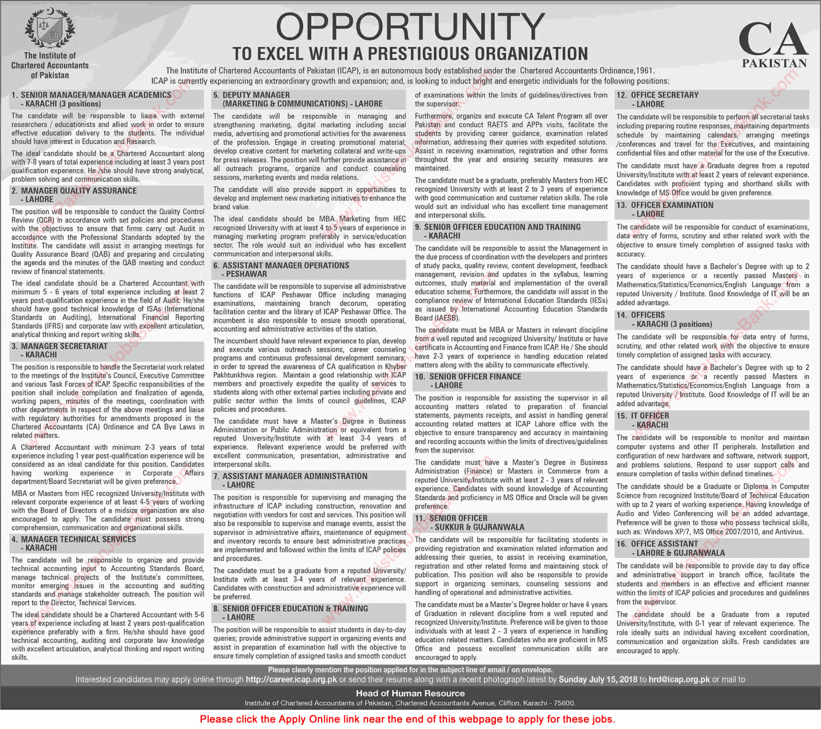 ICAP Pakistan Jobs July 2018 Apply Online Office Assistants, IT Officers & Others Latest