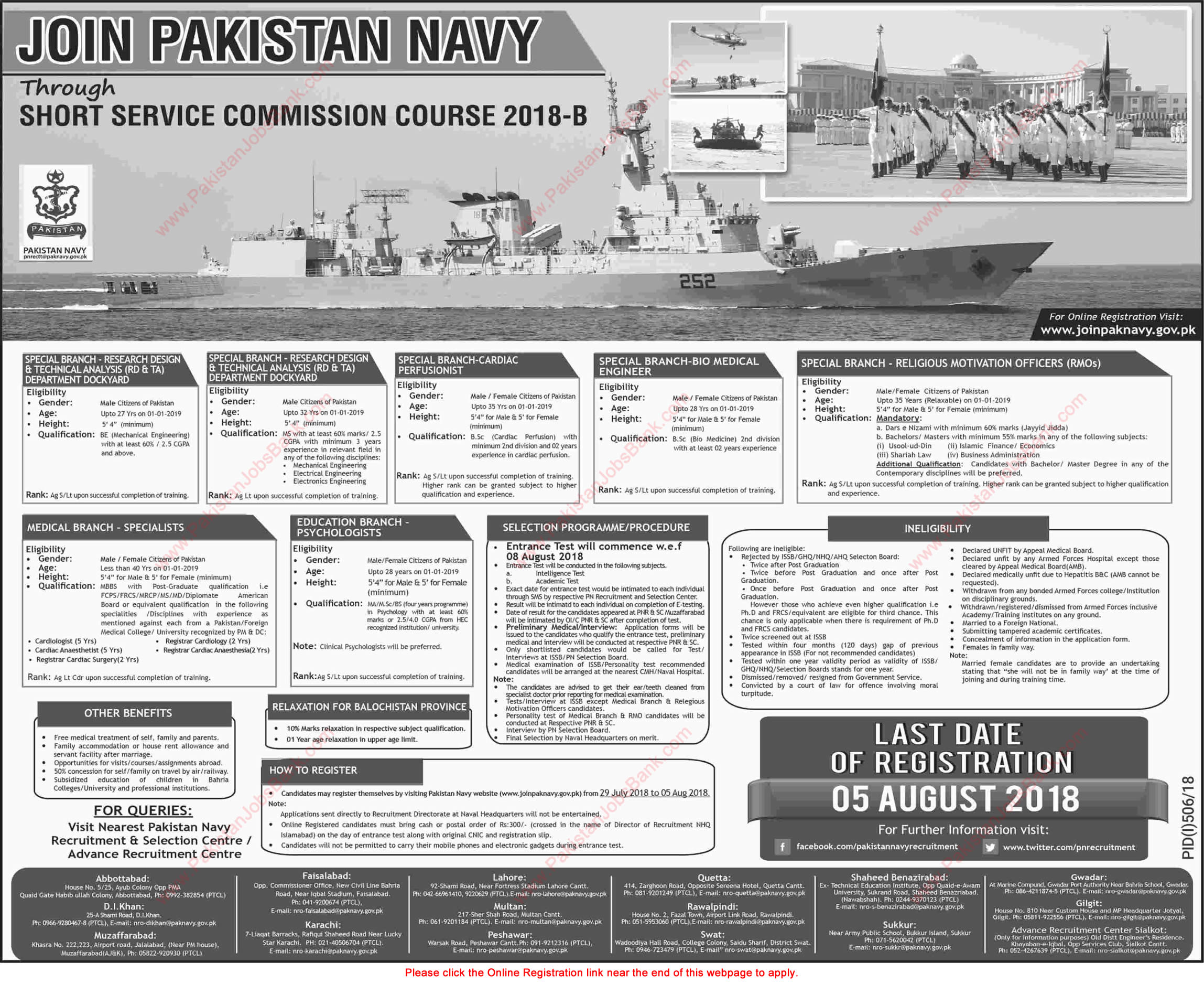 Join Pakistan Navy through Short Service Commission Course 2018-B Online Registration Latest / New
