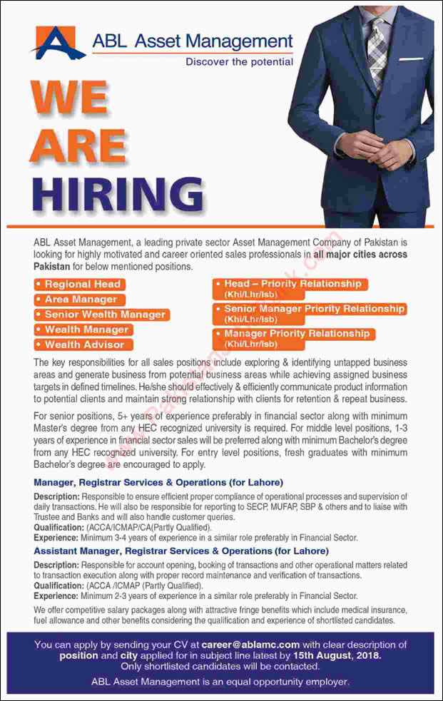ABL Asset Management Company Jobs 2018 August Area Managers, Wealth Advisors & Others Latest