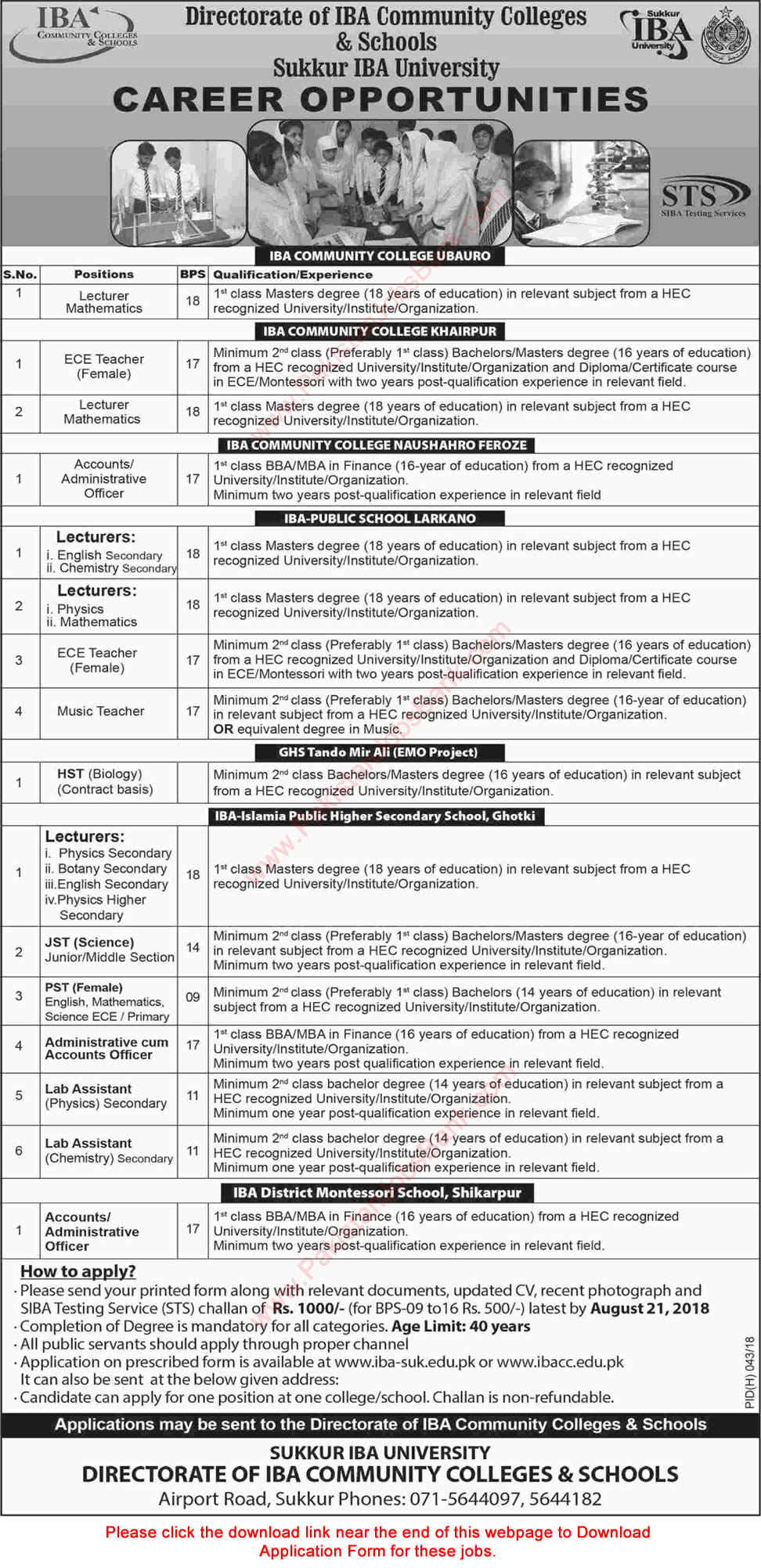 Directorate of IBA Community Colleges and Schools Jobs August 2018 Application Form Download Latest