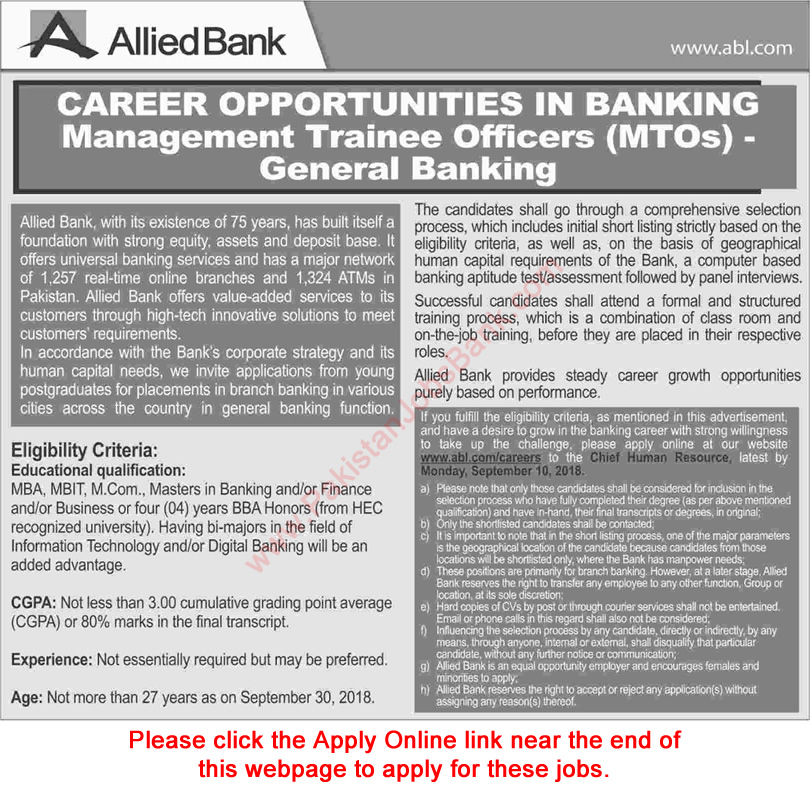 Allied Bank MTO Jobs September 2018 ABL Online Apply Management Trainee Officers Latest