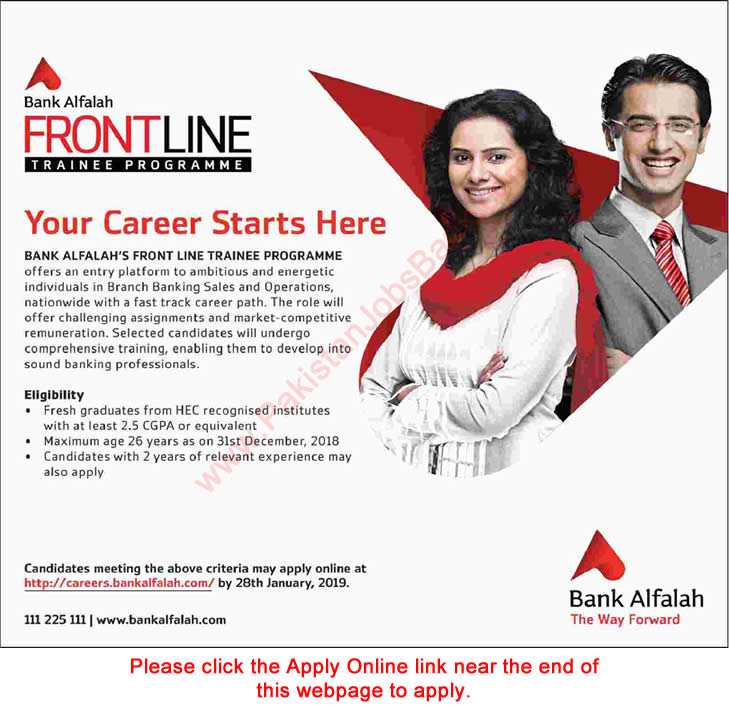 Bank Alfalah Jobs 2019 Apply Online Front Line Trainee Program for Fresh Graduates Latest