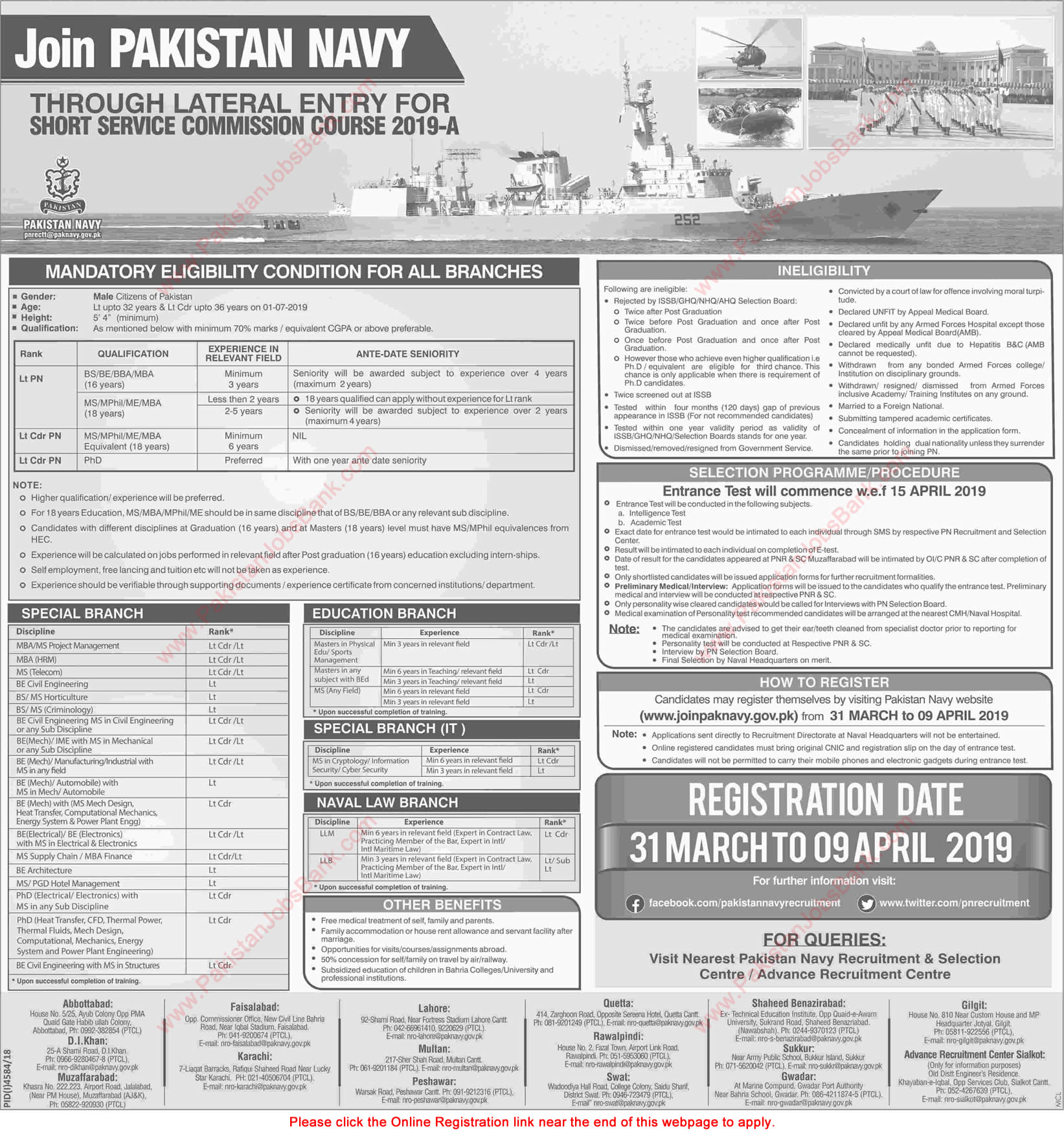 Join Pakistan Navy through Short Service Commission Course 2019-A Online Registration Latest