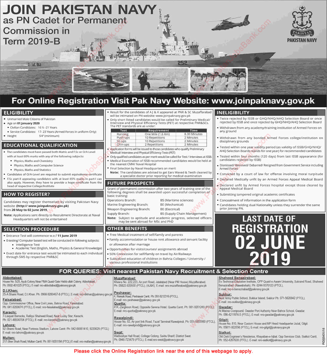Join Pakistan Navy as PN Cadet 2019 May Online Registration