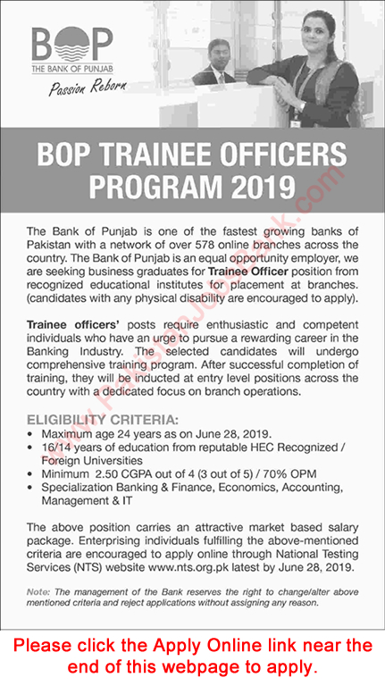 Bank of Punjab Jobs June 2019 Trainee Officers Program NTS Online Application Form BOP Latest