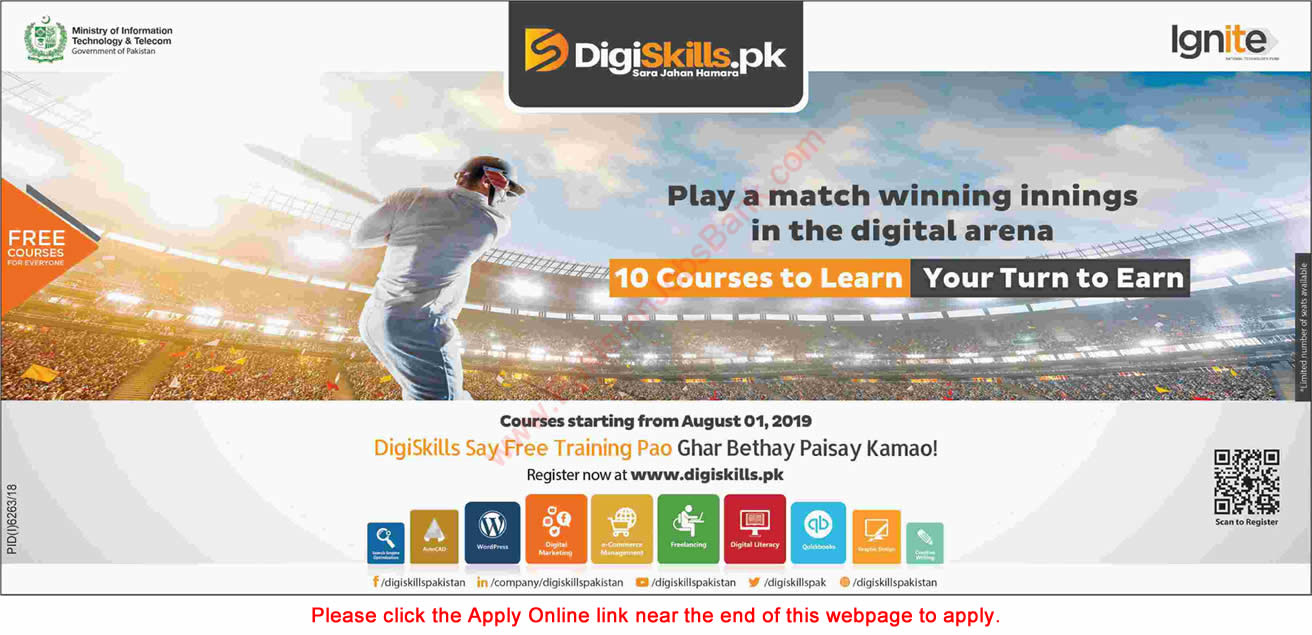 Digiskills Pakistan Free Online Courses July 2019 Apply Online Ministry of Information Technology and Telecom Latest