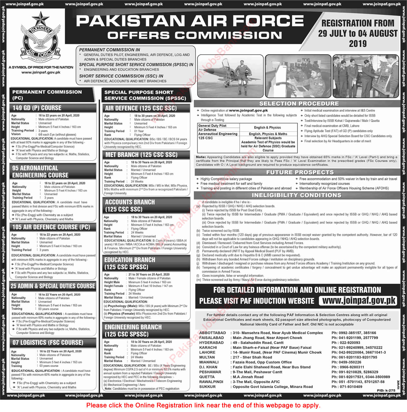 Join Pakistan Air Force July 2019 August Online Registration SPSSC, SSC & Permanent Commission Latest