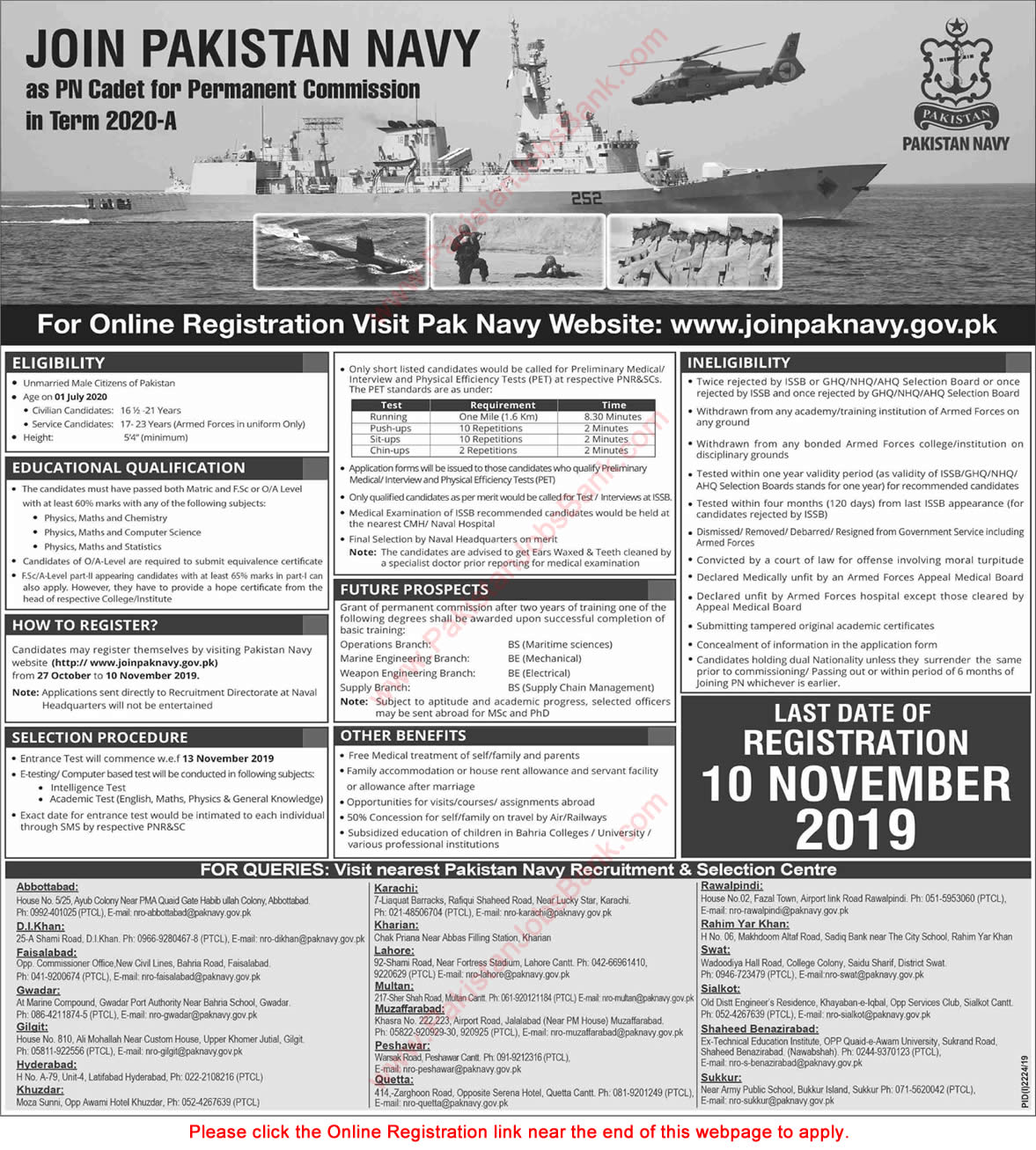 Join Pakistan Navy as PN Cadet October 2019 November Online Registration for Permanent Commission in Term 2020-A Latest