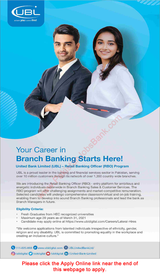 Retail Banking Officer Jobs in UBL 2021 March Apply Online United Bank Limited Latest