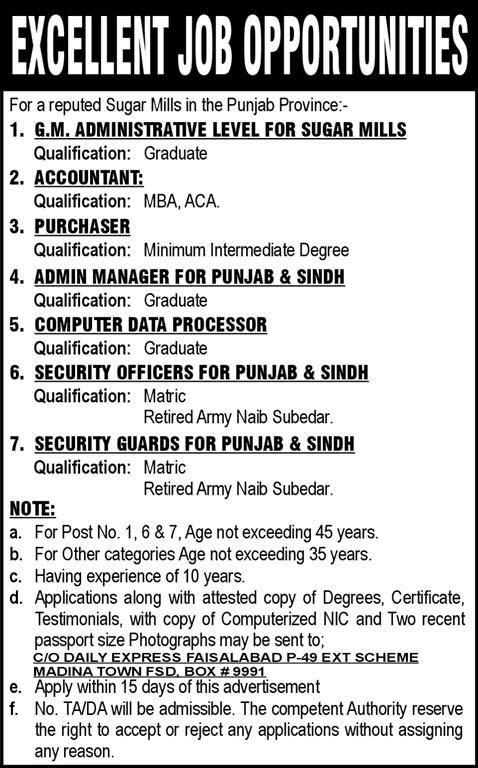 Suger Mills in the Punjab Province Required Staff