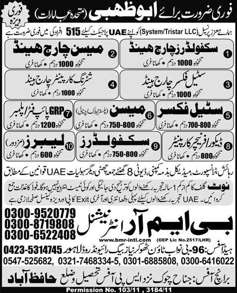 Urgently Required For Abu Dhabi UAE