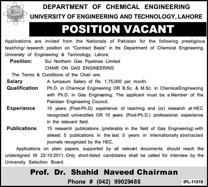 Department Of Chemical Engineering Position Vancant In Lahore